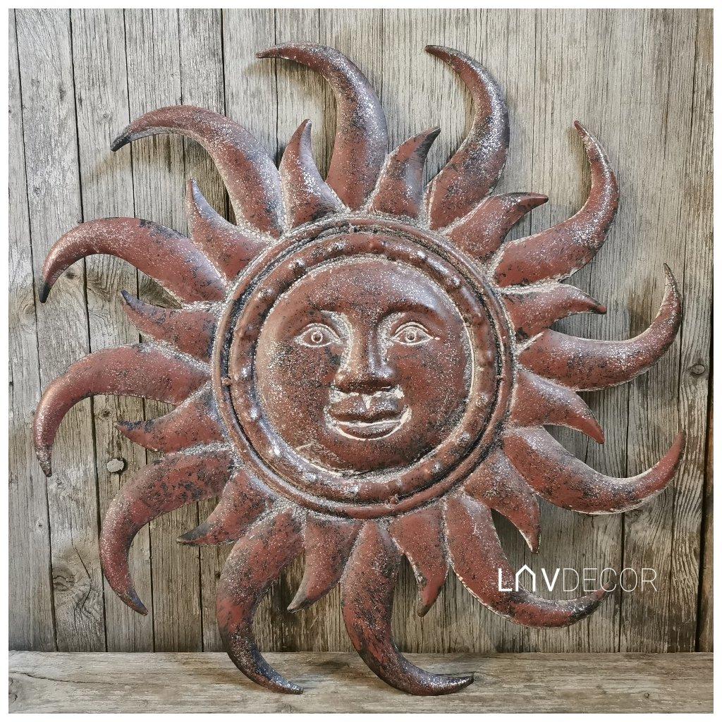slnko kovové nastená dekorácia hnedé vintage 50×50×2cm