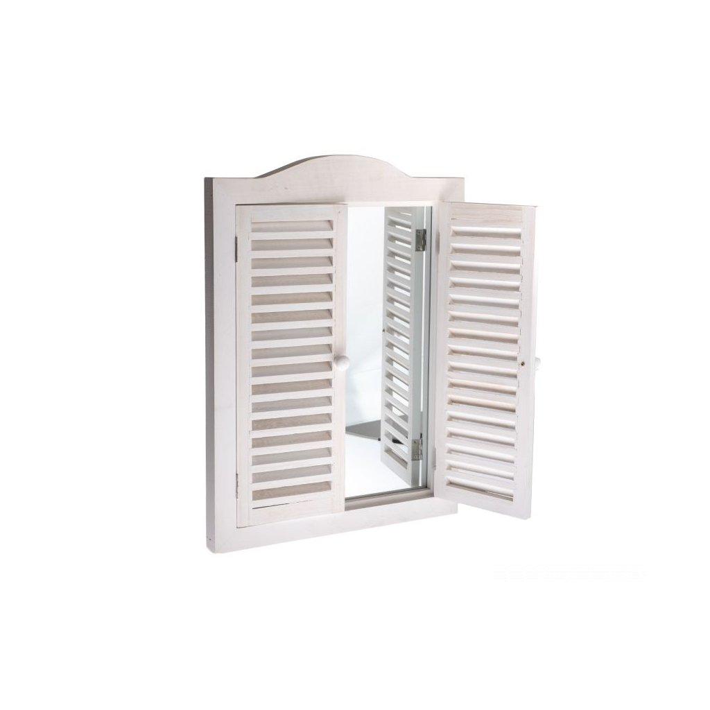 Zrkadlo s okenicami-biela 30×45×3cm