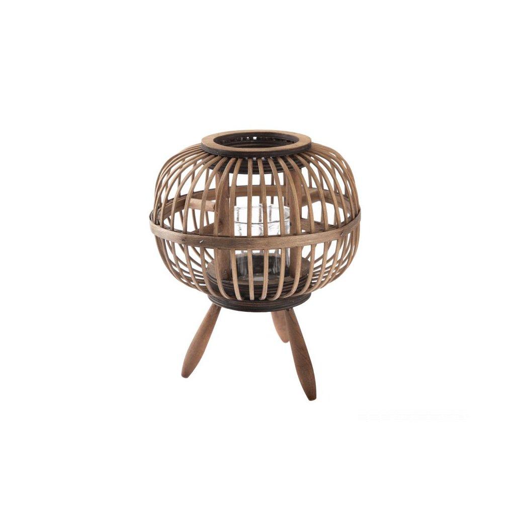 Bambusová lampa so sklom hnedá 20,5×23,5×20,5cm