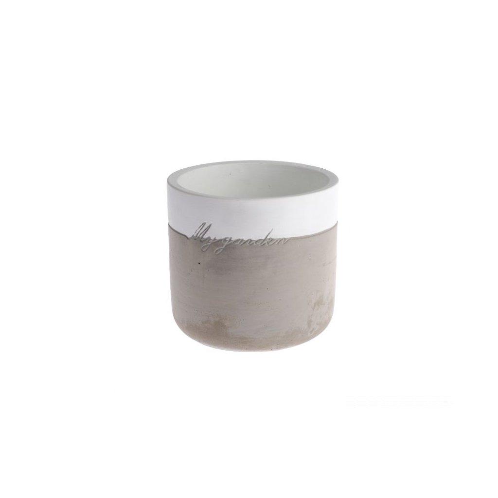 Betonový kvetináč bielo šedy 14,5 × 14,5 × 13,5 cm