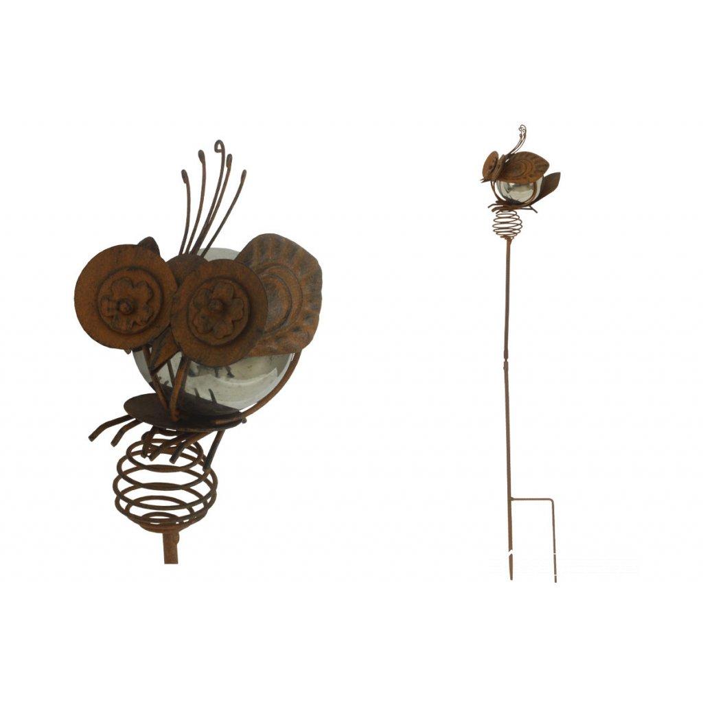 Včielka, zápich, kovová záhradná dekorácia 13x109x15cm