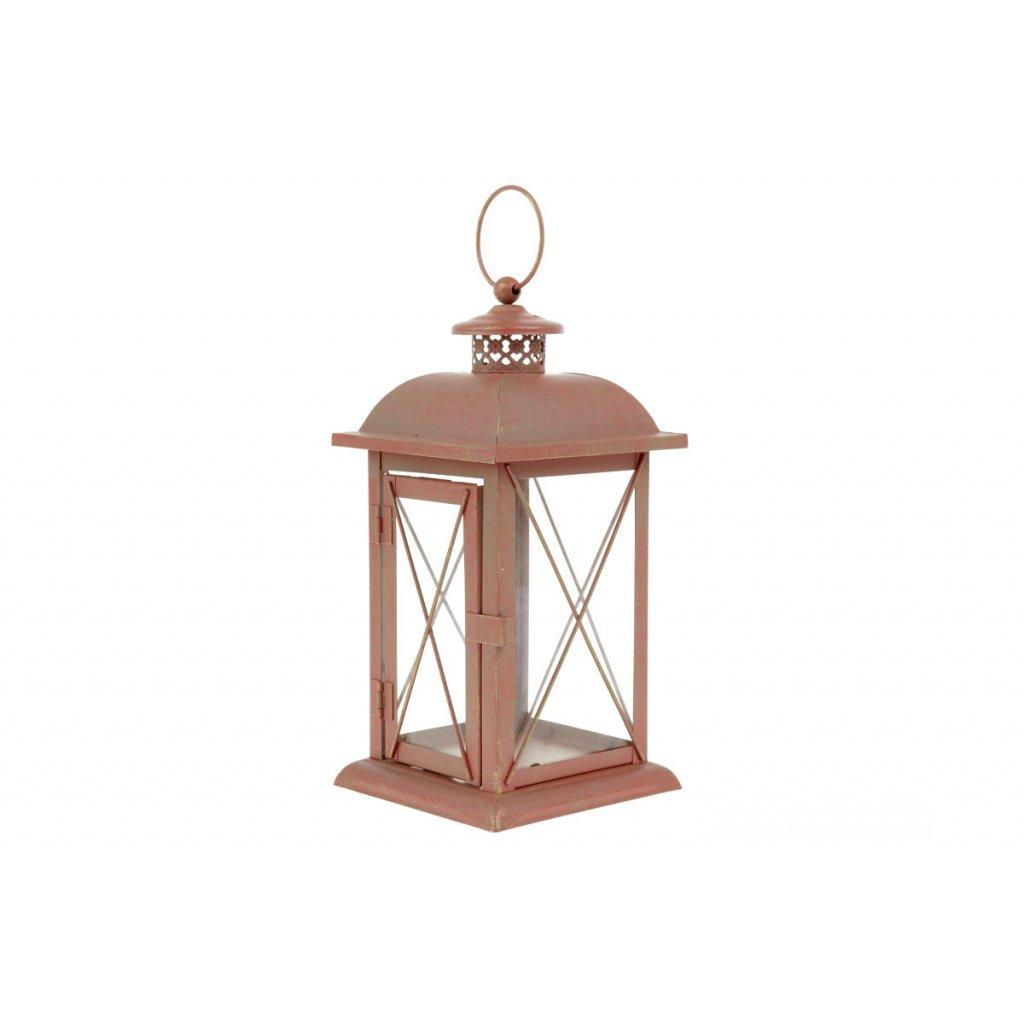 Lampáš kovový, farba červená antík 12,5x12,5x25cm