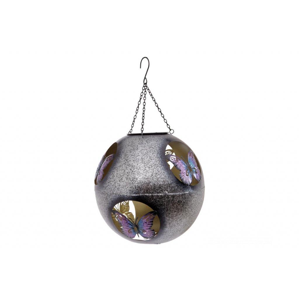 Guľa s LED svetlom,dekor s motýlikmi,kovová zahradná dekorácia na zavesenie,22cm