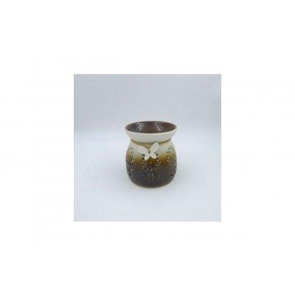 Aroma lampa s motýľom  porcelánová hnedobéžová 9x9x10cm