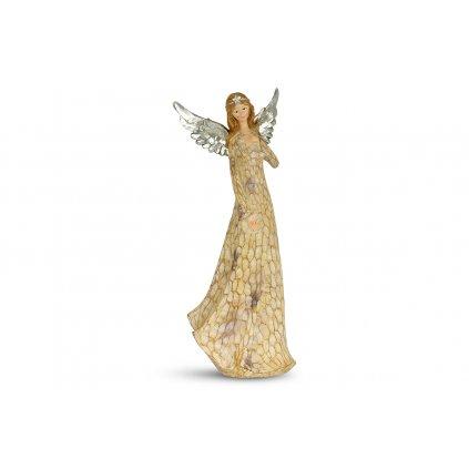 Anjel so striebornými krídlami, dekorácia z polyresinu