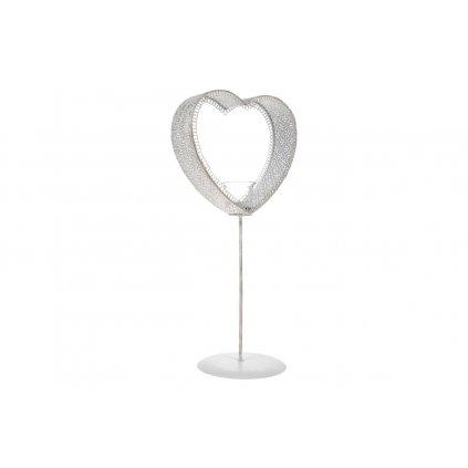 Svietnik v tvare srdca na čajovú sviečku kovový biely 23x15x49CM
