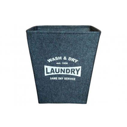 Koš na prádlo z filcu, farba tmavo šedá 47x34x55cm