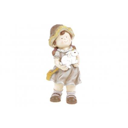 Hubové dievčatko so zajačikom, záhradná magneziová keramika 21.3X16.5X45cm