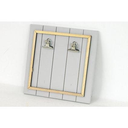 Tabuľka na odkazy, drevená dekorácia šedá 25,5x25,5x3,5 cm