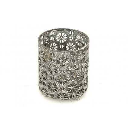 Svietnik, dekorácia z kovu a skla /len pre čajové sviečky/