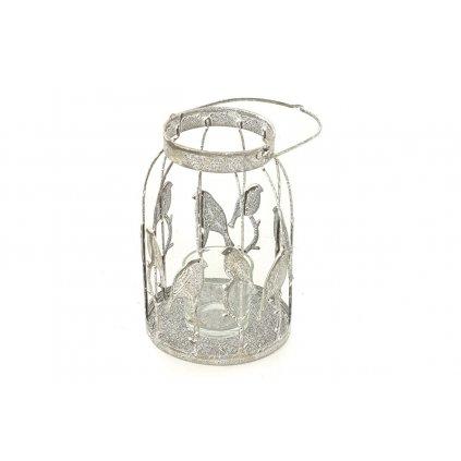 svietnik biela kovová dekorácia 16x10.5x10.5 cm