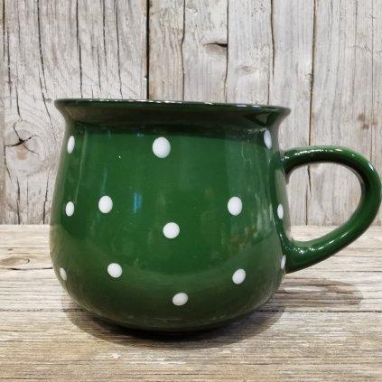 keramický hrnček s bodkami zelený 770ml