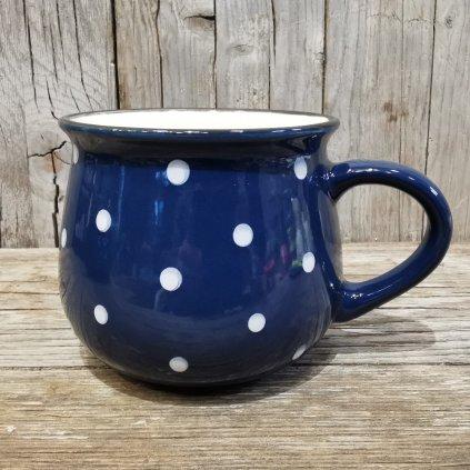 keramický hrnček s bodkami modrý 230ml