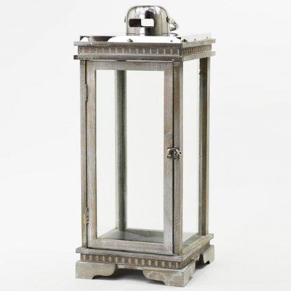 LAMPÁŠ drevený šedá patina  24X24X58,5CM