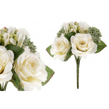 umelá kytica ružičiek v bielo-krémovej farbe