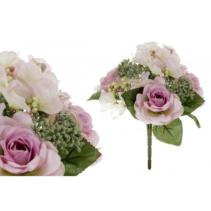 umelá kytica ružičiek v bielo-fialovej farbe