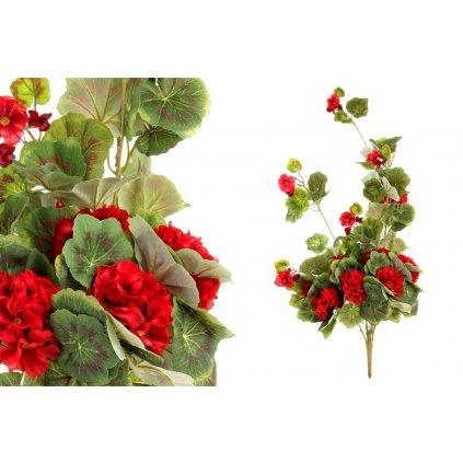 Umelá kvetina, muškát ťahavý,červený