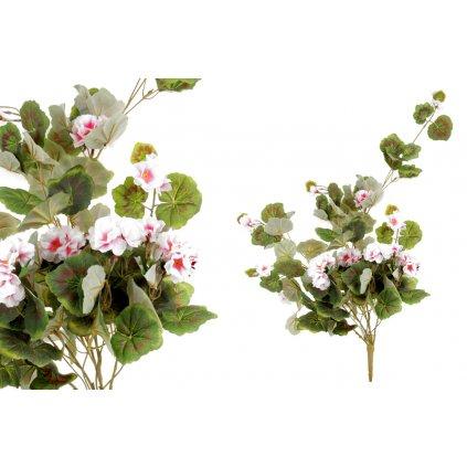 Umelá kvetina, muškát ťahavý,bielo-ružový