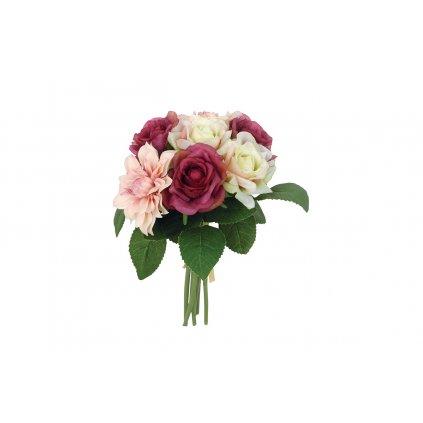 Kytica ruží umelá  farba vínovo-smotanová 24cm