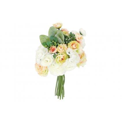 umelá kytica - Ranunkulus, farba bielo-žltá-ružová