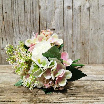 Kytica umelých kvetov, mix hortenzie a ruže 28cm