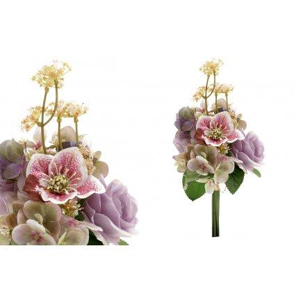 Kytica umelých kvetov, mix hortenzie, vlčieho maku a ruže.