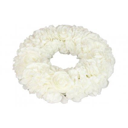 Veniec z penových ružičiek, biely,35x35x7cm