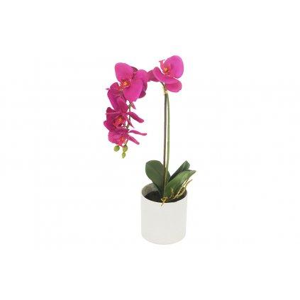 Orchidea v betónovom kvetináči cyklaménová umelá kvetina 48x11x11cm