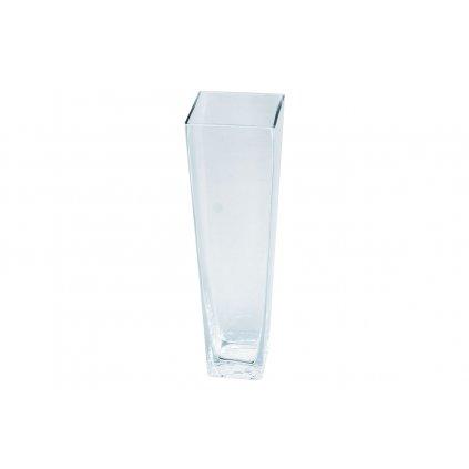 Sklenená váza číra štvorcová zúžená 10x35cm