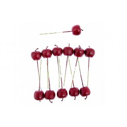 Plastové jabĺčko na drôtiku, červená farba, 3cm cena za balenie 12 ks
