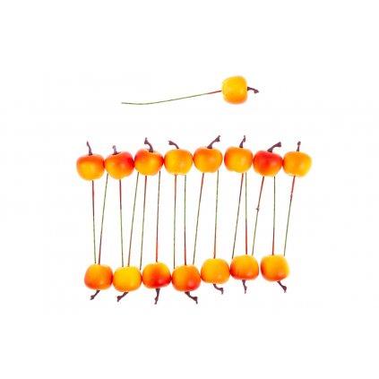 Plastové jabĺčko na drôtiku, oranžová farba /cena za balenie 16 ks/