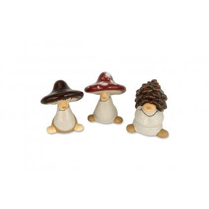Lesné figúrky huba a šiška, keramická dekorácia 6,5 cm, cena za 1 kus
