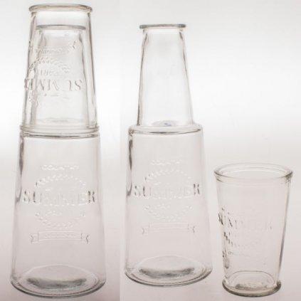 KARAFA S POHÁROM priehľadné sklo 800ml cena za sadu