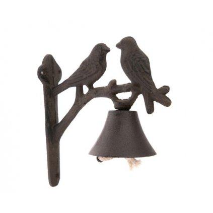 Liatinový zvonček s vtáčikmi hnedý 18,5×19×8cm