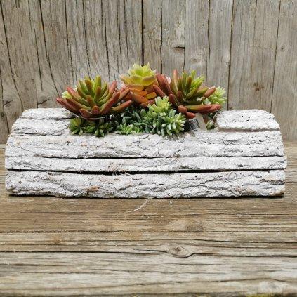 drevený kvetináč prírodná kôra 32×8,5×16 cm