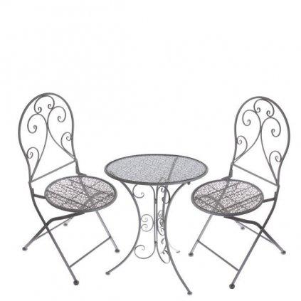 záhradný kovový stôl + 2 stoličky set farba šedá