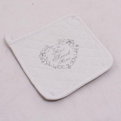 Kuchynská chňapka Sweet Home biela 19,5 × 0,5 × 19,5 cm