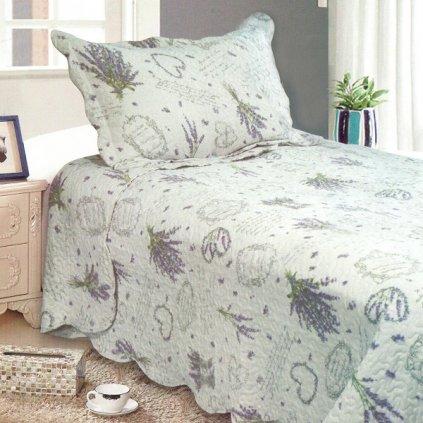 prikrývka na posteľ+obliečka na vankúš- na jednolôžko, levanduľa 140x200/50x70cm