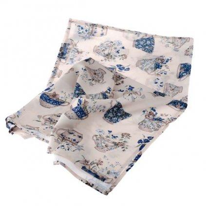 obrus modré šálky kvietky 100 × 150 cm