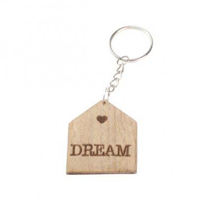 drevená kľúčenka dom dream 4×10×0,3cm