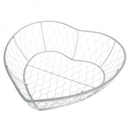 srdiečko košík drôtený biely 23,5×6×16,5cm