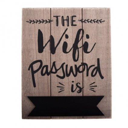 ceduľka drevená wifi prírodne drevo 16×20×0,6cm