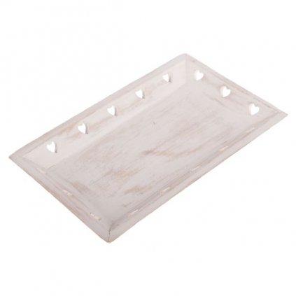 drevený podnos srdiečka biely 25 × 15 × 3,5 cm