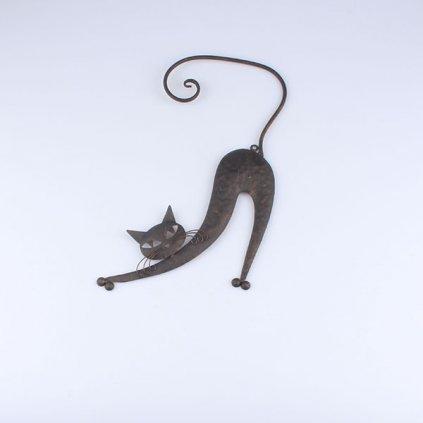 kovová mačička dekorácia na stenu čierna 25×41×1cm