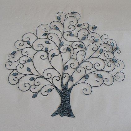 kovový strom dekorácia na stenu šedá patina 78×79×2cm