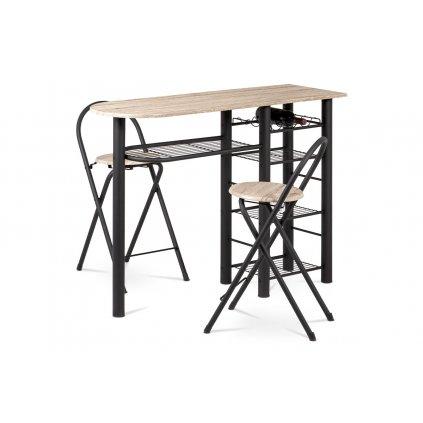 barový set (1+2), MDF san-remo, kov čierny mat