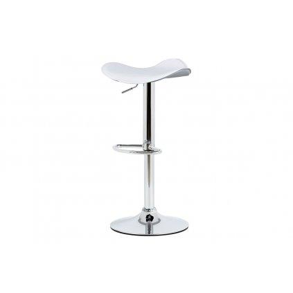 Barová stolička AUB-440 WT biela-sedák čalúnený ekokožou