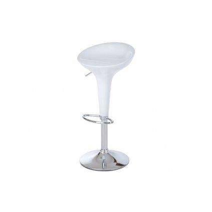 barová stolička, plast biely/chróm