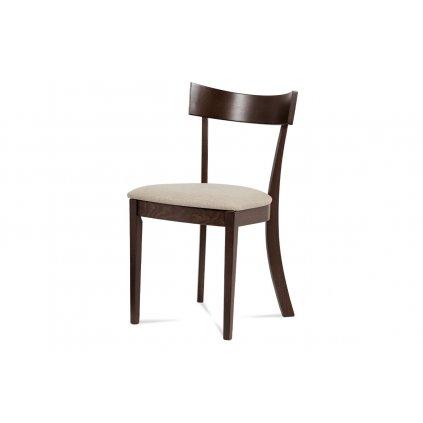 jedálenská stolička, farba orech, poťah krémový