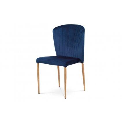 jedálenská stolička,modrá zamatová látka, kov. podnož, 3D dekor dub